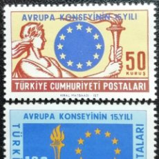 Sellos: 1964. TURQUÍA. 1688 / 1689. 15 ANIV. DEL CONSEJO DE EUROPA. SERIE COMPLETA. NUEVO.. Lote 197679678