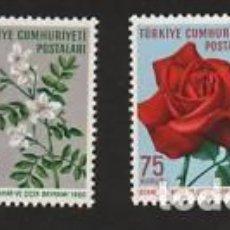 Sellos: TURKEY 1960 FLOWERS, MNH AJ.074. Lote 198278118