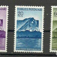 Sellos: TURKEY 1947 RAILWAY CONGRESS, TRAINS, MNH S.491. Lote 198278220