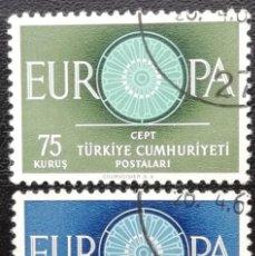 Sellos: 1960. TURQUÍA. 1567 / 1568. TEMA EUROPA. SÍMBOLO. SERIE COMPLETA. USADO.. Lote 199476567