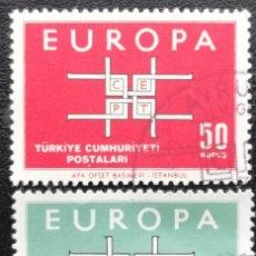 Sellos: 1963. TURQUÍA. 1672 / 1673. TEMA EUROPA. SÍMBOLO. SERIE COMPLETA. USADO.. Lote 199476670