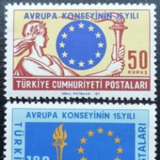 Francobolli: 1964. TURQUÍA. 1688 / 1689. 15 ANIV. DEL CONSEJO DE EUROPA. SERIE COMPLETA. NUEVO.. Lote 203245937