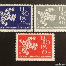 Sellos: TURQUIA, EUROPA CEPT 1961 COMPLETA Y USADA (FOTOGRAFÍA REAL). Lote 205562025