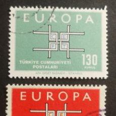 Sellos: TURQUIA, EUROPA CEPT 1963 COMPLETA Y USADA (FOTOGRAFÍA REAL). Lote 205572642