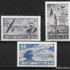 Sellos: TURQUÍA, 47 CONFERENCIA DE LA FEDERACIÓN AERONÁUTICA,1954,YVERT 25-27 AÉREO, NUEVO,MNH**. Lote 206278352