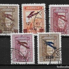 Sellos: TURQUÍA, SOBRECARGADOS, 1934,YVERT 1-5 AÉREO, USADO. Lote 206280653