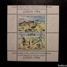 Sellos: CHIPRE TURCO (TURQUÍA) YVERT HB-13 SERIE COMPLETA USADA. EUROPA 1994. ARQUEOLOGÍA. EDAD DE PIEDRA. Lote 211443587