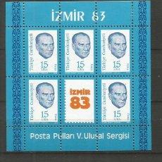 Selos: TURQUIA HOJA BLOQUE YVERT NUM. 25 * NUEVA CON FIJASELLOS. Lote 214899487