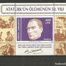 Selos: TURQUIA HOJA BLOQUE YVERT NUM. 29 * NUEVA CON FIJASELLOS. Lote 214899642