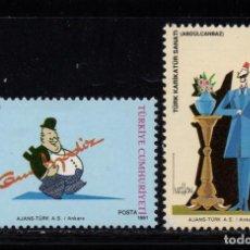 Sellos: TURQUIA 2677/78** - AÑO 1991 - CARICATURAS. Lote 222575671