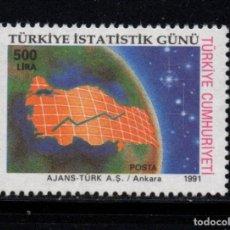 Sellos: TURQUIA 2671** - AÑO 1991 - DIA NACIONAL DE ESTADISTICAS. Lote 222818598