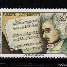Sellos: TURQUIA 2676** - AÑO 1991 - MUSICA - BICENTENARIO DE LA MUERTE DE W.A. MOZART. Lote 222819385