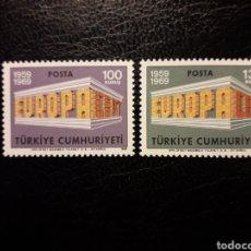 Selos: TURQUÍA YVERT 1891/2 SERIE COMPLETA NUEVA ***. EUROPA CEPT 1969.. Lote 224562680