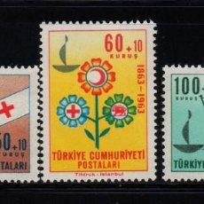 Timbres: TURQUIA 1664/66** - AÑO 1963 - CENTENARIO DE LA CRUZ ROJA INTERNACIONAL. Lote 228153330