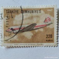 Sellos: TURQUÍA. SELLO USADO DE 220 KURUS, DE 1967. AVIÓN DC-3. ENVÍO GRATIS POR PEDIDOS DE 3€ O MÁS.. Lote 231287915