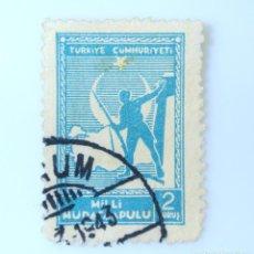Sellos: SELLO POSTAL TURQUÍA 1941 , 2 KURUS, SOLDADO Y MAPA DE TURQUÍA, USADO. Lote 233397450