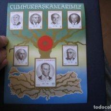 Sellos: TURQUIA, 1987, HOJITA BLOQUE PRESIDENTES DE LA REPUBLICA TURCA, YVERT 27. Lote 235245760