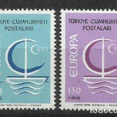 Sellos: 5576-MNH** SERIE COMPLETA TURQUIA EUROPA 1966 Nº 1796/7.. Lote 235799135