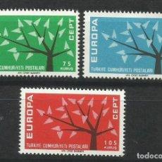 Sellos: 5584A-MNH** SERIE COMPLETA TURQUIA EUROPA 1962 Nº 1627/9. Lote 235801905