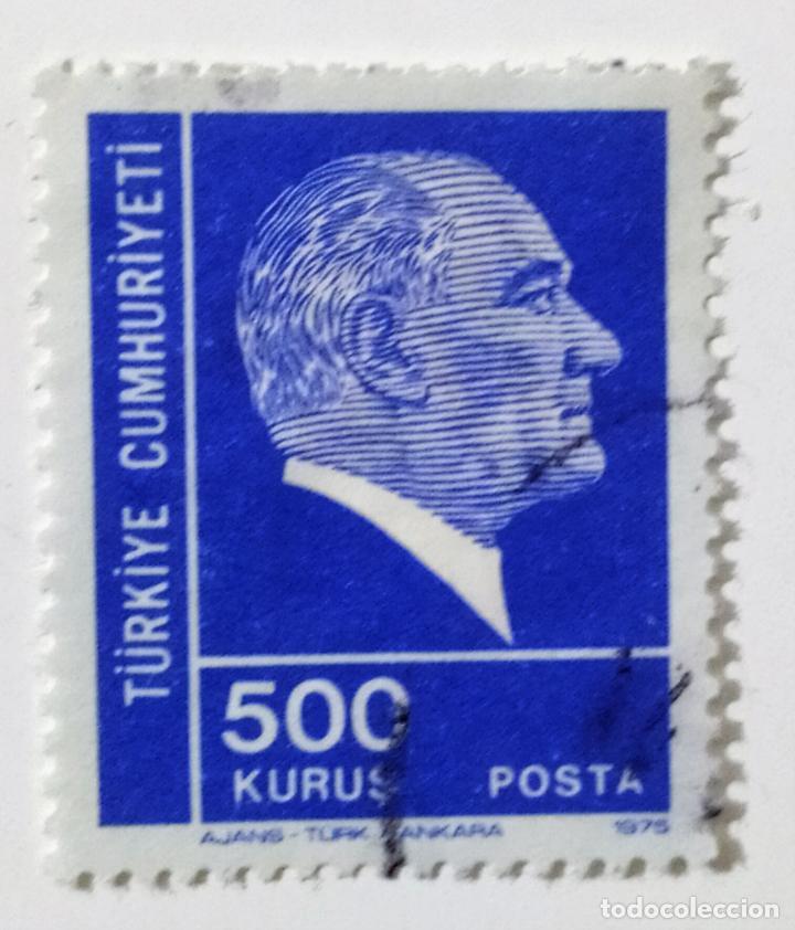 SELLO DE TURQUIA 500 K - 1975 - ATATURK - USADO SIN SEÑAL DE FIJASELLOS (Sellos - Extranjero - Europa - Turquía)
