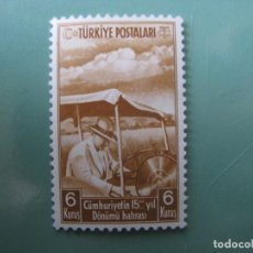 Sellos: -TURQUIA, 1938, 15 ANIVERSARIO DE LA REPUBLICA, YVERT 896. Lote 245733355