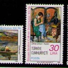 Sellos: TURQUIA 1982 - PINTOR IBRAHIM CALLI - YVERT Nº 2358/2360**. Lote 262791845