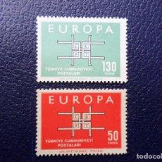 Sellos: TURQUIA, 1963, EUROPA, YVERT 1672/3. Lote 289622223