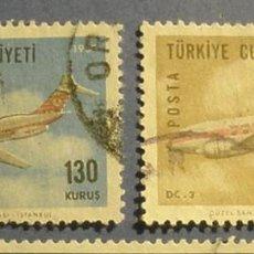 Sellos: TURQUIA 1967 - AVIONES - DC 9-30 Y DC 3.. Lote 296023053