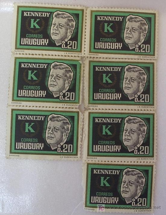 JOHN FITZGERALD KENNEDY PLANCHA 7 SELLOS (Sellos - Extranjero - América - Uruguay)