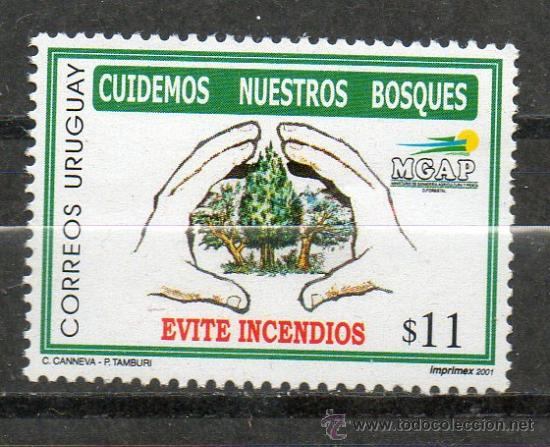 6 URUGUAY-2001-MINT-CUIDEMOS NUESTROS BOSQUES (Sellos - Extranjero - América - Uruguay)