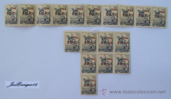 75 ANIVERSARIO COLONIA SUIZA, URUGUAY 1944. CORREGIDOS SIN CIRCULAR. 18 SELLOS. (Sellos - Extranjero - América - Uruguay)