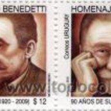Sellos: 60 URUGUAY 2010- HOMENAJE A MARIO BENEDETTI - 90 AÑOS DE SU NACIMIENTO (1920-2009). Lote 23702498