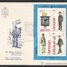 Sellos: URUGUAY HB 33 PRIMER DIA, 150 ANIVº DE LA POLICIA, UNIFORME, . Lote 23859938