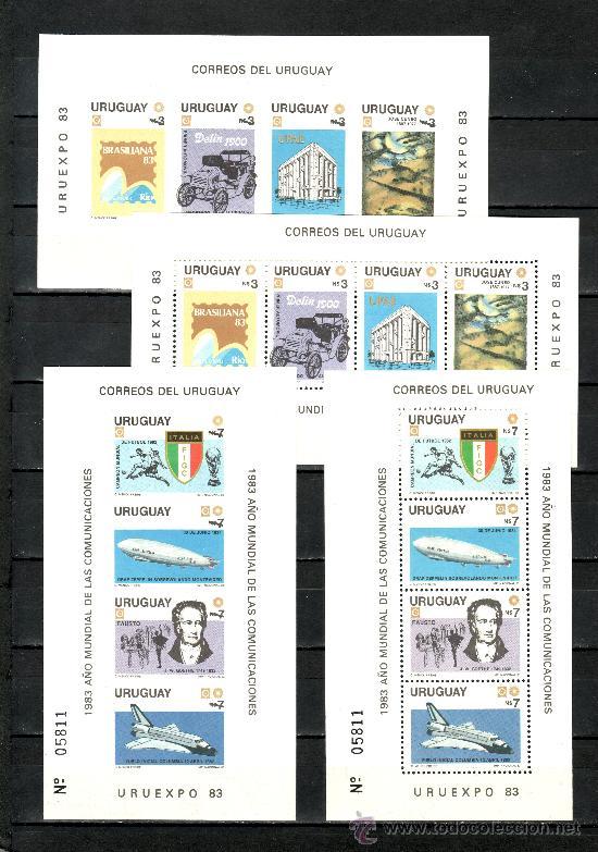 URUGUAY HB 38/9, HB 38/9 SIN DENTAR SIN CHARNELA, AÑO MUNDIAL DE LAS COMUNICACIONES, ZEPPELIN FUTBOL (Sellos - Extranjero - América - Uruguay)