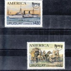 Sellos: URUGUAY 1487/8 SIN CHARNELA, TEMA UPAEP, VEHICULOS DE TRANSPORTE POSTAL, . Lote 23866831