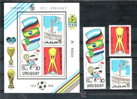 URUGUAY 1066/8, HB 37 SIN CHARNELA, DEPORTE, COPA DE ORO DE FUTBOL EN MONTEVIDEO 1980 (Sellos - Extranjero - América - Uruguay)