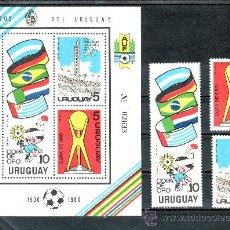 Sellos: URUGUAY 1066/8, HB 37 SIN CHARNELA, DEPORTE, COPA DE ORO DE FUTBOL EN MONTEVIDEO 1980. Lote 23867609