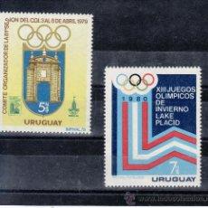 Sellos: URUGUAY 1014/5 SIN CHARNELA, DEPORTE, JUEGOS OLIMPICOS 1980, URUGUAY 79 EXP. FIL. INTERNACIONAL . Lote 58228488
