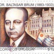 Sellos: 178-URUGUAY -2009- 90 AÑOS PRESIDENCIA BALTASAR BRUM. Lote 29437594