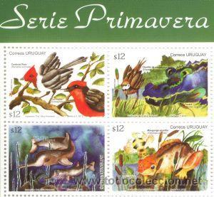 289 URUGUAY 2012 FDC- SERIE PRIMAVERA -FAUNA PÁJAROS,PECES, RANAS,YACARE,INSECTOS (Sellos - Extranjero - América - Uruguay)