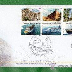 Sellos: URUGUAY 2012 -CRUCEROS -FDC- TEMÁTICA,TOPIC:FAROS,COLONIA DEL SACRAMETO,PTO. DEL BUCEO,FORTALEZAS,H. Lote 33946921