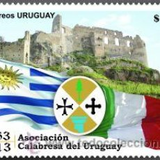 Sellos: URUGUAY 2013 50 ANIV. ASOCIACIÓN CALABRESA DEL URUGUAYO- PLANCHA X 8 SELLOS. Lote 38612487