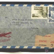 Sellos: URUGUAY 1956 - SOBRE CIRCULADO Y ABIERTO MONTEVIDEO-MADRID(ESPAÑA). Lote 41996252