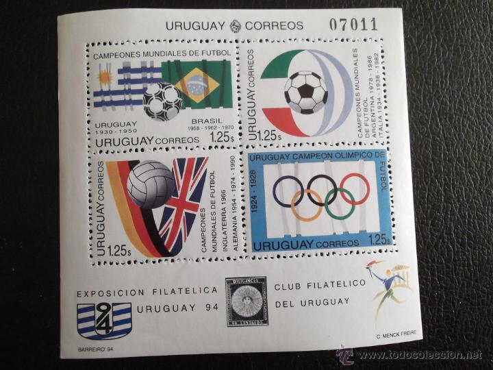 URUGUAY. HB 48 COPA MUNDIAL DE FÚTBOL EN USA: BALONES Y BANDERAS DE LOS PAÍSES VENCEDORES**. 2 HB, U (Sellos - Extranjero - América - Uruguay)