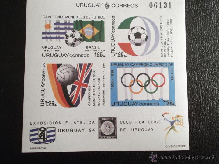 Sellos: Uruguay. HB 48 Copa Mundial de Fútbol en USA: Balones y banderas de los países vencedores**. 2 HB, u - Foto 2 - 43318574