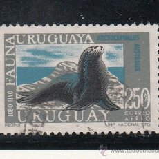 Sellos: URUGUAY A 365 USADA, FAUNA INDIGENA, LEON DE MAR, . Lote 43388773