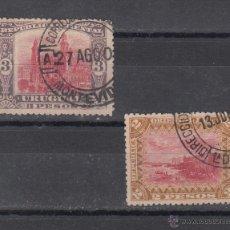 Sellos: URUGUAY 129/30 USADA, FORTALEZA DE SAN JOSE, CATEDRAL DE MONTEVIDEO, . Lote 43388925