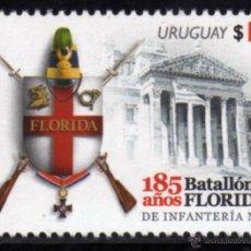 Sellos: URUGUAY 2014. 185 AÑOS DEL BATALLON FLORIDA DE INFANTERIA Nº 1. Lote 44899890