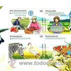 Sellos: URUGUAY 2014 -AÑO INTERNACIONAL DE LA AGRICULTURA FAMILIAR-TT.:FLORA Y FAUNA,SOMBREOS,MARIPOSAS, LAB. Lote 45379090