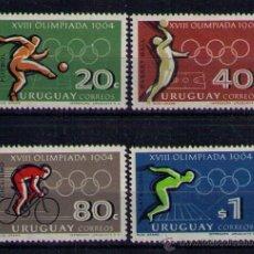 Sellos: URUGUAY 1965 - JUEGOS OLIMPICOS DE TOKIO - YVERT Nº 733-736. Lote 47792112